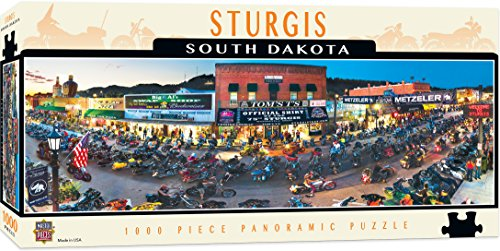 - MasterPieces Cityscapes Panoramic Jigsaw Puzzle, Sturgis, South Dakota, 75th Annual Motorcyle Rally, Photographs by James Blakeway, 1000 Pieces