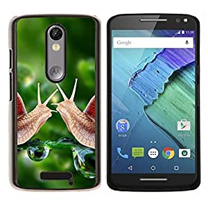 Cubierta protectora del caso de Shell Plástico || Motorola Moto X ( 3rd Generation ) || Caracol verde Rocío Naturaleza Verde Primavera @XPTECH