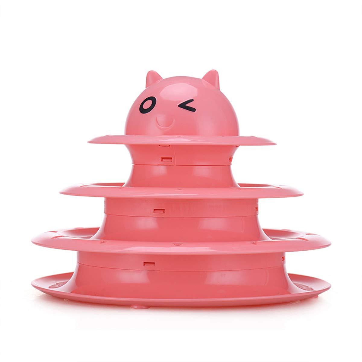 Bluexury ペット猫ボールおもちゃ インタラクティブファン 3段タワーボール&トラック 猫のティーザーおもちゃ 猫のおもちゃ B07HRNSRFD ピンク ピンク