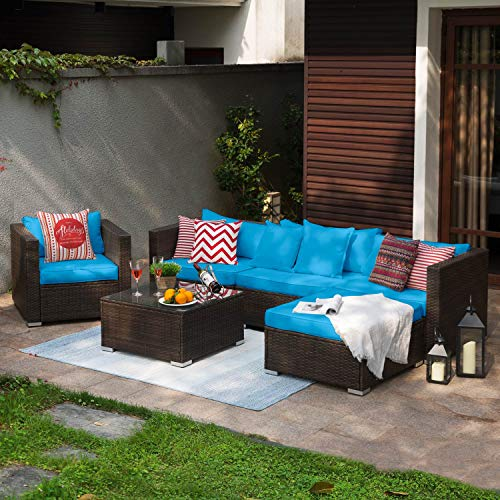 Tribesigns 6 Pieces Patio Furniture Sofa Set, Outdoor Conversation Sectional Sofa Set with PE Rattan & Water-Proof Couch Cushion for Garden, Lawn, Backyard or Poolside (Blue)