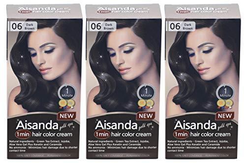 (Aisanda/Assanta Gold Spa 1 Minute Hair Color Cream, Fast Natural Hair Dye For Women & Men With Herbal Ingredients, Ammonia Free (3Pack60g, Dark)