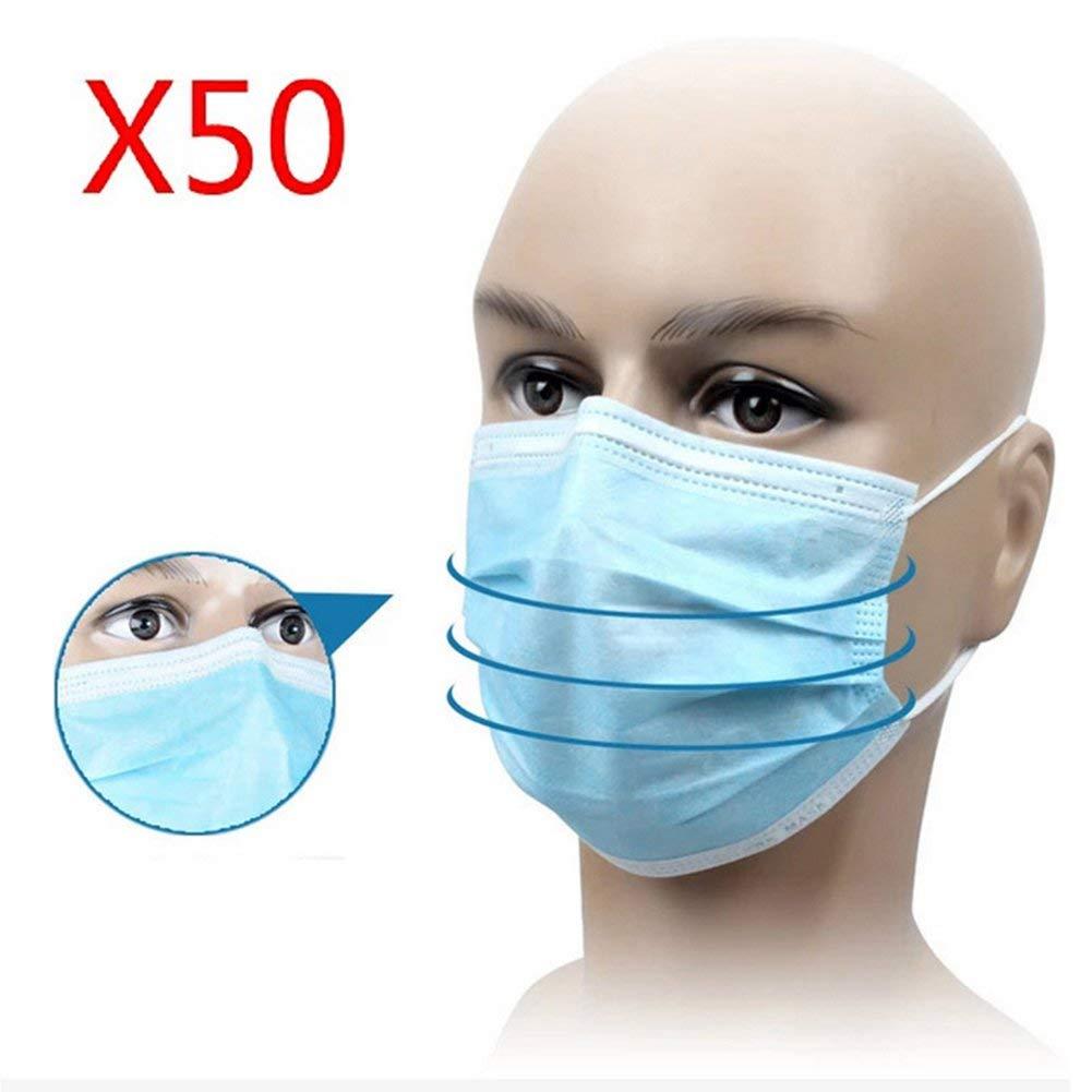YHX Mascarilla Facial Desechable con Trabilla Elástica para La Oreja De 3 Capas, para Médicos, Enfermeras Y Pacientes 50 PCS