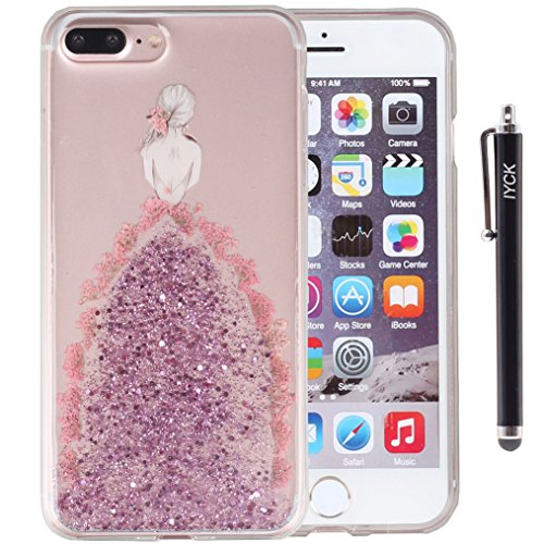 iPhone 8 Plus Case, iPhone 7 Plus Case, iYCK Handmade [Real Dried Flower] Pressed Floral Glitter Bling Flexible Soft Rubber Gel TPU Back Case Cover for iPhone 7/8 Plus 5.5inch - Pink Girl Backside