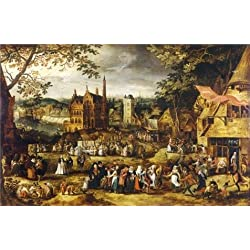 Perfect effect Canvas ,the Reproductions Art Decorative Canvas Prints of oil painting 'Village Fair by David Vinckboons', 20x31 inch / 51x78 cm is best for Kitchen artwork and Home decor and Gifts