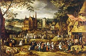 'Village Fair by David Vinckboons' oil painting, 24x37 inch / 61x94 cm ,printed on Cotton Canvas ,this Reproductions Art Decorative Prints on Canvas is perfectly suitalbe for Wall art gallery art and Home decor and Gifts