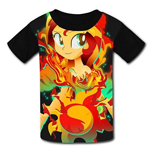 APICELLAjiow Human Sunset Shimmer M-L-P Children T-Shirts Crew Neck Short Sleeve Raglan Costume Tee Shirt for Kids ()