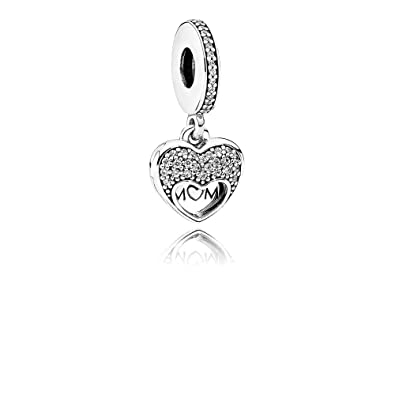 fe83b7d8c Image Unavailable. Image not available for. Color: Pandora I Love My Mom  Dangle Hanging Heart Pendant Charm – Clear Cubic Zirconia ...