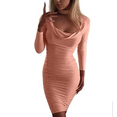 2f5276e6f5f1 Kleider Damen Pullover Kleid Elegant Brautjungfernkleid Lange Ärmel  Petticoat Ballkleid Hepburn Herbst Winter, Fashion Solid Plissee Undichte  Brust Hüfte ...