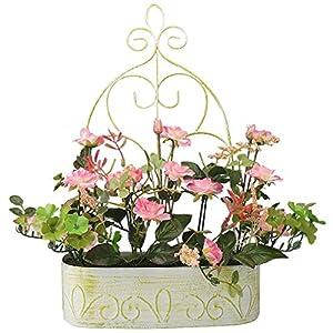 RERXN Europern Pastoral Artificial Flower in Iron Basket Silk Rose with Hanging Rack Indoor Outdoor Home Wedding Decor 3