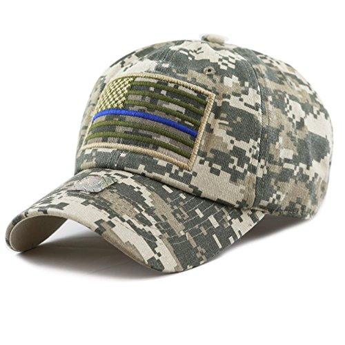 The Hat Depot Low Profile Tactical Operator USA Flag Blue Line Buckle Cotton Cap (Digital - Police Cotton Hat