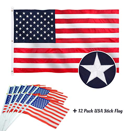Jetlifee 6x10 FT American USA US Flag with Sewn Stripes, Embroidered Stars and Brass Grommet, Longest Lasting and UV Protected for Outdoor/Indoor USA Flags 6x10 Foot