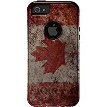 CUSTOM Black OtterBox Commuter Series Case for Apple iPhone 5 / 5S - Canadian Flag Old Weathered