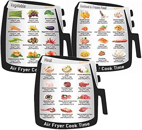 Air Fryer Accessories Cheat Sheet Magnets Set, Electric Air Fryer Cook Times Quick Reference Guide, Magnetic Cook Time Stickers and Decals, Best Gift Choice, 3 pcs