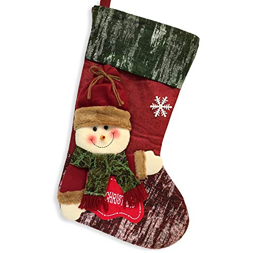BANBERRY DESIGNS Christmas Stocking- Jolly 3D Snowman Wearing Plush Stocking Hat and Scarf with Merry Christmas Sign –for Xmas Decoration Parties Gift Bag - Jolly Snowman Stocking
