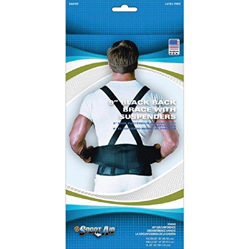 Sport Aid Back Brace with Suspenders, Medium/Large, Black [1 Each (Single)] by SCOTT SPECIALTIES CMO INC
