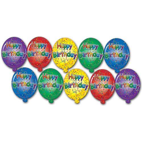 Beistle 57462 10-Pack Miniature Happy Birthday Cutouts, 4-1/2-Inch