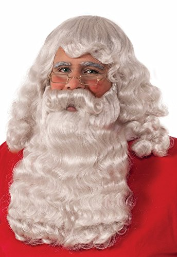 [Deluxe Adult Santa Wig And Beard Set Christmas Costume] (Synthetic Santa Costumes Beard And Wig Set)