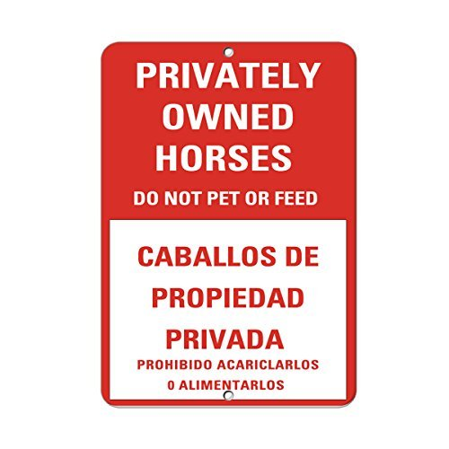 Store Feed Tin Sign (VictorJoan Privately Owned Horses Do Not Pet Or Feed Activity Sign Aluminum Metal Sign Tin Sign 7 in x 10 in.)