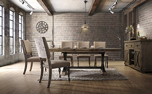 Roundhill Furniture T428-C428-C428-C428 Birmingham Nailhead 7-Piece ExtensibleTable with Nail Head Chairs Dining Set, Driftwood For Sale