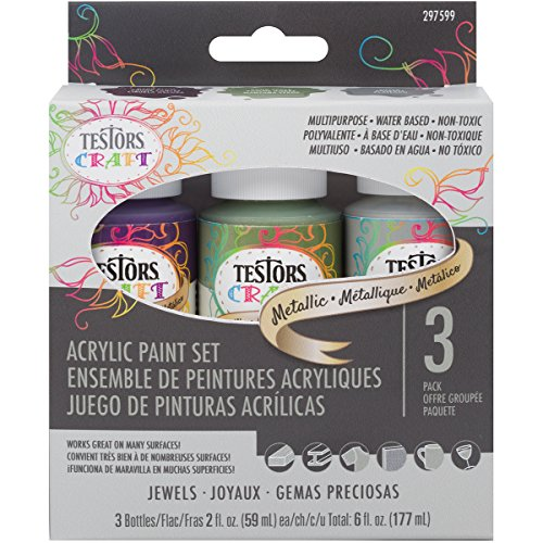 Testors 297599 Craft Acrylic Paint Set, Metallic Jewels