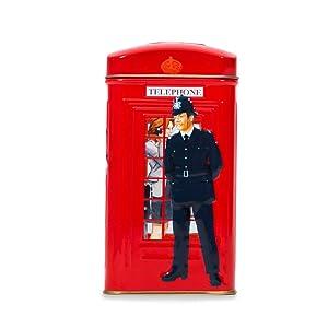Ahmad Tea 25 Teabag Caddy Gift Tin, London Telephone Box, English Breakfast, 1.7 Ounce
