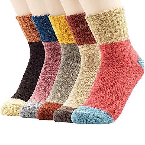Zando Womens Soft Thick Wool Sock Warm Cabin Ankle Sock Winter Wool Socks for Women Comfort Cashmere Crew Sock 5 Pairs Splice2 6-11(US) ()