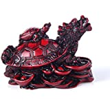 jushanyuan Small Size Feng Shui Red Dragon Turtle Wealth Protection Statue Figurine Housewarming Congratulatory Paperweights Gift Home Decor
