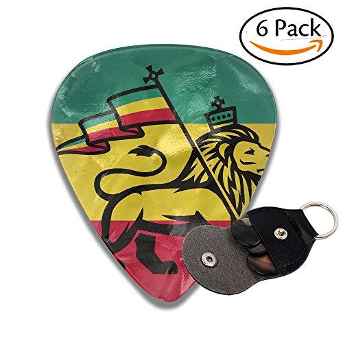 Wxf Judah Lion With A Rastafari Flag King Jungle Reggae Theme Stylish Celluloid Guitar Picks Plectrums For Guitar Bass .71mm 6 Pack ()