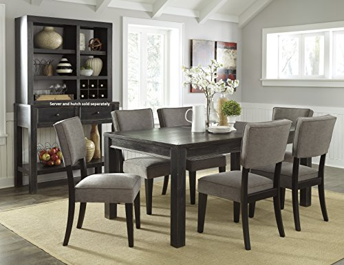 Gavellestong Vintage Casual Black Rectangular Dining Room Table w/ 6 Gray Side Chair