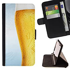 For Sony Xperia M4 Aqua Case , Divertido Frosty vidrio de cerveza- la tarjeta de Crédito Slots PU Funda de cuero Monedero caso cubierta de piel