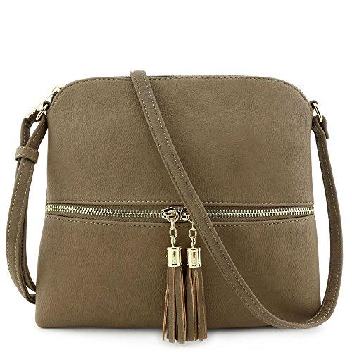 (Lightweight Medium Crossbody Bag with Tassel)