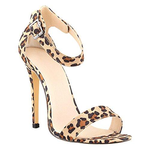 DULEE - Sandalias de vestir de piel para mujer leopardo
