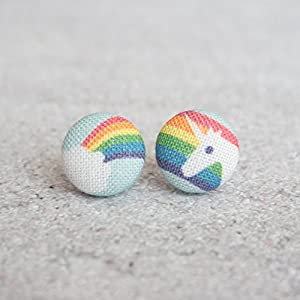 Rainbow Unicorn Fabric Button Earrings