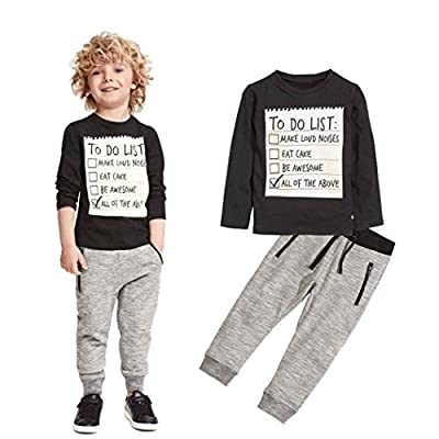 Elevin(TM)Kids Toddler Boys Handsome Black Blouse Tshirt+ Gray Casual Pants Outfits