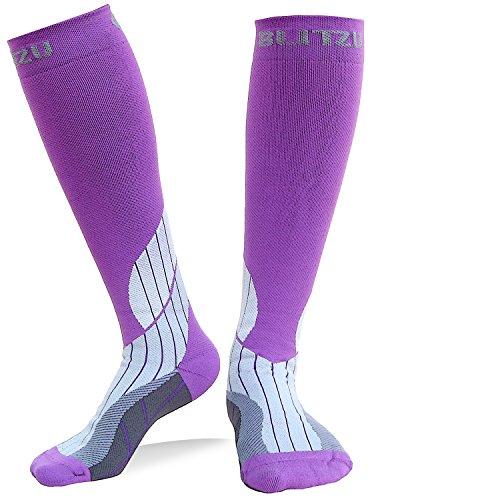 Blitzu Compression Socks 15-20mmHg for Men & Women BEST Recovery Performance Stockings for Running, Medical, Athletic, Edema, Diabetic, Varicose Veins, Travel, Pregnancy Relief Shin Splint L/XL Purple -