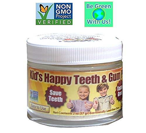Kid's Happy Teeth & Gum Powder – Organic/nonGMO – Highly effective: Help reduce plaque cavity formation, gum disease, bleeding, recession, gingivitis, sensitivity, & inflammation