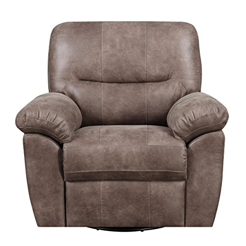 Cushion Recliner Like Leather Swivel (Artum Hill UP4-986 Harrison Recliner, Almond Brown)