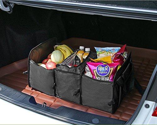 Plegable Impermeable Bolsa con 2 Compartimientos y 1 Bolsa de Enfriamiento- Caja de Almacenamiento para SUV Viaje Tobao Ir de Compra Organizador Maletero Coche Camping