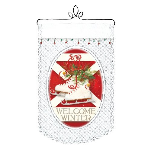 Heritage Lace Welcome Winter/Skates 12-Inch by 20-Inch Wall Hanging, White