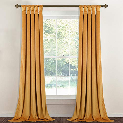 StangH Gold Velvet Curtain Panels - Stunning Thick Heavy Duty Large Window Drapes with Twist Tab Design for Bedroom/Party/Hotel Hall, Warm Gold, Wide 52 x Long 96-Inches, 2 -