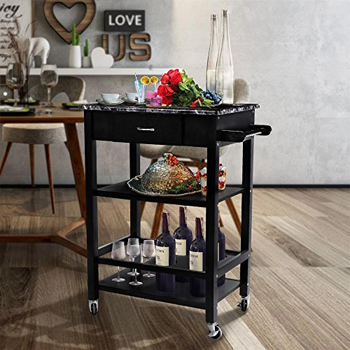 Topeakmart Kitchen Buffet Serving Cart Bar Wine Bottle Holder 3 Tiers Faux Marble With Wood by Topeakmart
