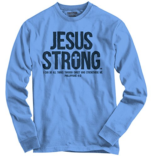 Jesus Strong Christian Religious Cross Faith Mens t-Shirt Long Sleeve T-Shirt