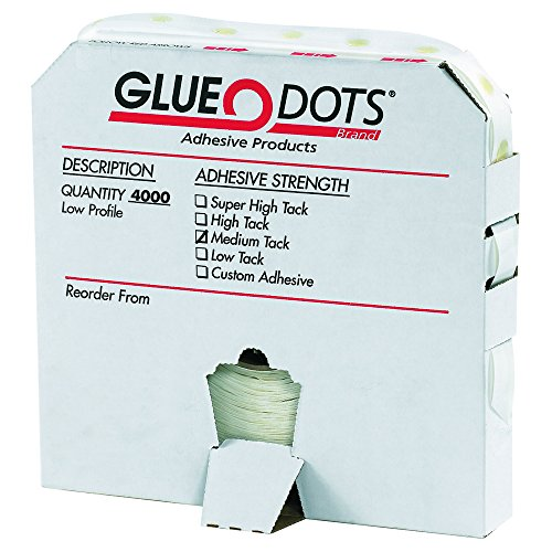 Glue Dots GD102 1/2'' - Medium Tack - Low Profile (Pack of 4000) by Glue Dots