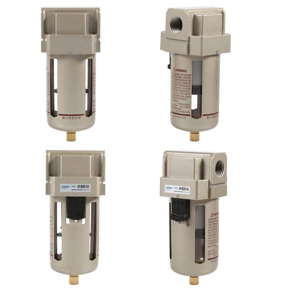 Zerodis Filtro de Aire Comprimido Regulador del Separador de Trampa de Humedad de Agua del compresor del Filtro de Aire de 1//2