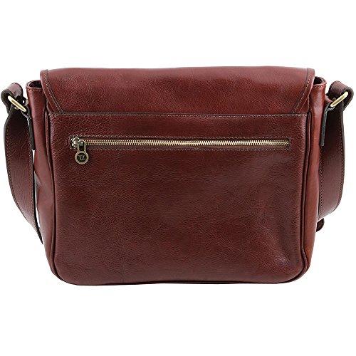 Tuscany Leather - TL Messenger - Sac bandoulière en cuir 1 compartiment - Taille moyenne - Marron