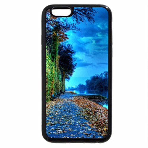 iPhone 6S Case, iPhone 6 Case (Black & White) - bench on a river embankment in autumn hdr