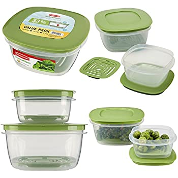 Rubbermaid 16pc Set Of Produce Saver Plastic Food Storage Containers With Lids & Fresh Vent for Breathability