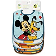 Disney Baby Mickey Mouse Deluxe Terrycloth and Vinyl Bib Set Colors May Vary 6 Ea