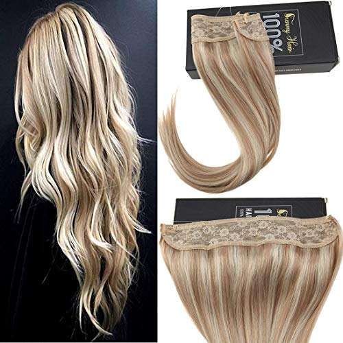 Sunny Halo Human Hair Extensions No Glue Hair Flip On Extensions Color #18/613 Ash Blonde Mixed Bleach Blonde 14inch 80g/pack