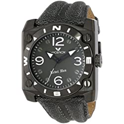 """Viceroy Men's 432119-55 """"Rebel"""" Black Ion-Plated Stainless Steel and Leather Square Watch"""
